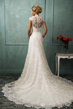 2016 Vintage Wedding Dresses Bit V Neck Capped Sleeve Sexy Sash Back A Line Chapel Train Beaded Lace Bridal Gowns Amelia Sposa