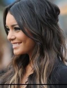 dark hair with highlights at nape of neck - Vanessa Hudgens...I like this, bc you don't see the dark roots if they are underneath :-)