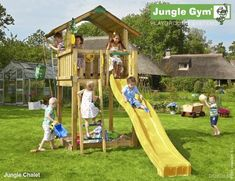 Jungle Chalet - A stylish climbing frame with slide incorporating facilities for all weathers, with a slide, ladder, sandbox and Bucket. Wooden Climbing Frame, Climbing Frames, Child Friendly Garden, Wooden Gates, Jungle Gym, Backyard Playground, Backyard Ideas, Chalets, Games