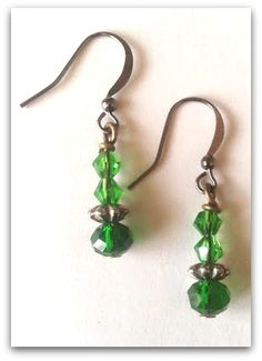 Vintage birthstone earrings. May. Crystal beads. Silver accents. 25$