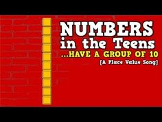 Numbers in the Teens (Have a Group of [a place value song for k.- I would use this as a brain break for teaching kids about place value. I like how it shows the tens and then how many more to make the teen numbers. Harry Kindergarten, Numbers Kindergarten, Kindergarten Freebies, Teaching Teen Numbers, Teaching Math, Maths, Place Value Song, Math Songs, Math School