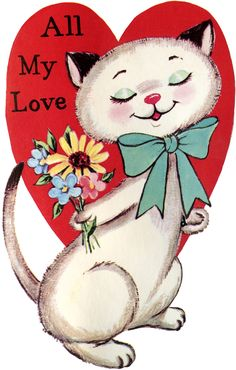 Vintage Cat Valentine Image from the Graphics Fairy