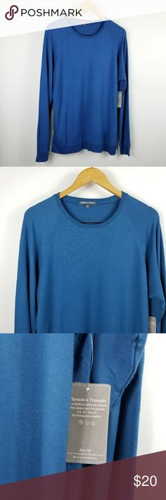 "Threads 4 Thought Blue Long Sleeve Crewneck Shirt Threads 4 Thought mens blue long sleeve shirt. Size large. Made of 95% modal, 5% spandex. (Sku:O24) New with tags.  22"" armpit to armpit  29"" long (shoulder to bottom) Threads 4 Thought Shirts Tees - Long Sleeve"