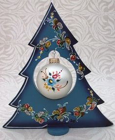 Ornament Rosemaled Wood Tree Handpainted Blue