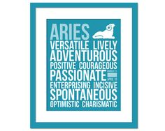Aries Personality Character Traits - Subway Art Print - Typography Poster - 8 x 10 Wall Decor - Birthday Gift