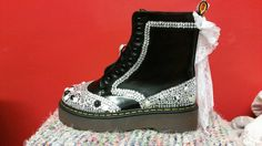 Shop for dr martens on Etsy, the place to express your creativity through the buying and selling of handmade and vintage goods. Funky Shoes, Dr. Martens, Wedding Bride, Custom Made, Combat Boots, Goth, My Etsy Shop, Bridal, Check