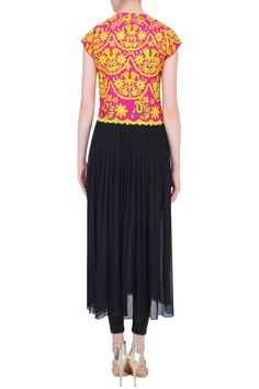 Black kutch embroidered long cape available only at Pernia's Pop Up Shop.