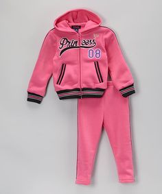 Look at this #zulilyfind! Pink & Black 'Princess' Hoodie & Track Pants - Toddler & Girls #zulilyfinds