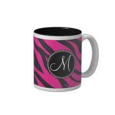 Custom Monogrammed Initial Hot Pink Black Zebra Coffee Mug SOLD on Zazzle