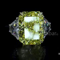 Emerald Jewelry, Diamond Jewelry, Gemstone Jewelry, Women's Jewelry, Three Stone Engagement Rings, Beautiful Engagement Rings, Beautiful Rings, Yellow Diamond Rings, Diamond Wedding Rings