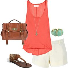 Coral top, turquoise accessories, brown leather purse and sandals, and white shorts. Looks SOOOO awesome!