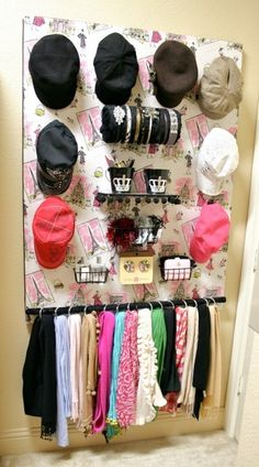 Closet Organization: Scarves, jewels and hats storage wall