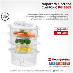 ¡Pensada para los amantes de la comida sana!  Vaporera eléctrica CLATRONIC DG 3665 https://www.electroactiva.com/clatronic-dg-3665-vaporera-electrica-cocina-al-vapor-con-3-bandejas-temporizador-60-minutos.html #Elmejorprecio #Vaporera #Chollo #Electrodomestico #PymesUnidas