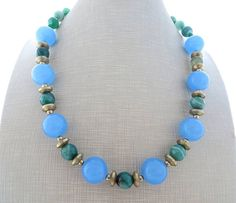 Sky blue jade necklace green agate necklace chunky necklace