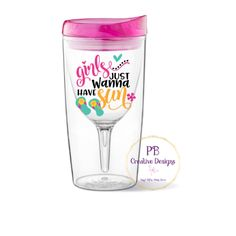 Girls Just Wanna Have Sun decal for wine glass / DIY Decal /  Tumbler Decal / Bachelorette Party by PBCreativeDesigns on Etsy
