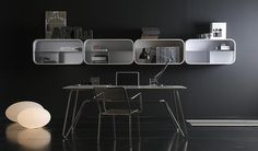 Customizable shelving system that can be incorporated into any room and take on a variety of shapes, colors, and textures. 'Cocoon' shelving by Ideal Form Team.
