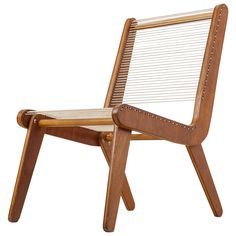 Elegant Mid-Century American Rope Chair, 1950s. In the manner of Klaus Grabe | From a unique collection of antique and modern side chairs at https://www.1stdibs.com/furniture/seating/side-chairs/