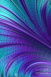 Fractal Digital Art - Abstract In Blue And Purple by John Edwards