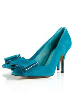 Topshop - Gaggle Triple Bow Court Shoes in Teal
