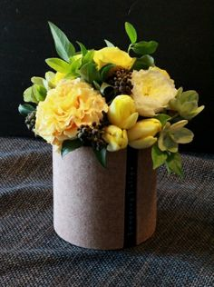 {Covered Bowl}Flower Arrangement by Tempting Tulips : Yellow and Green Flower Styling