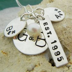 Hand Stamped Family Necklace, Custom Personalized Charm Necklace, ANNE by E. Ria Designs