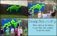 "love this game idea for the dino party!  Change for A's party so each kid gets to choose one ""dino egg"" to pop and get the contents.  NO more big kids running over littles after a pinata!"