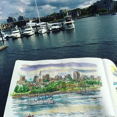 Sketching at Yaletown Quay with my fellow urban sketchers today.  Pen and Sakura Koi watercolors, 1 hour. #caobeckysketch