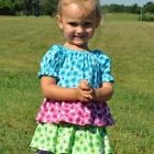 Toddler Ruffled Peasant Dress - Teal Pink Green Purple Size 18/24 Mon.