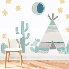 Teepee Kit is a set Mej Mej fabric wall decasl from the Little Feather nursery art collection. Rustic Baby Rooms, Do It Yourself Baby, Green Furniture, Baby Room Decor, Nursery Art, Nursery Decor, Wall Decals, Kids Room, Decoration