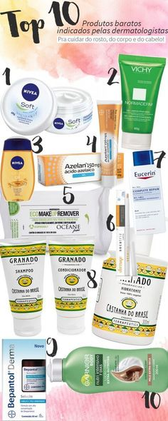 Produtos baratos indicados pelas dermatologistas dos famosos para cuidar da pele… Cheap products indicated by the famous dermatologists to take care of the skin of the face, body and hair. Yes, they exist, so let's enjoy it! Make Beauty, Beauty Care, Beauty Skin, Beauty Makeup, Face Skin, Face And Body, Beauty Secrets, Beauty Hacks, Beauty Tips