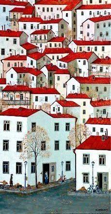 City by Zviad Gogolauri City Illustration, Landscape Illustration, Landscape Art, Building Art, Paintings I Love, Art Paintings, Naive Art, Beautiful Artwork, House Painting
