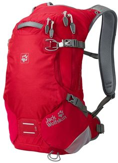 Jack Wolfskin ACS Stratosphere Pack Rucksack, Red Fire, 15 L. Small biking and hiking pack with good back ventilation. Suspension system with optimised ventilation. Main compartment, 6 pockets. Trekking pole attachment, attachment for LED light, rain cover. Equipped for a hydration system.