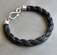 Mens Leather Bracelet Thick Black Chain Braid w/ Silver Hook