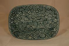 Bluegreen shiny small ceramic tray by FrankelArtworks on Etsy, $18.00