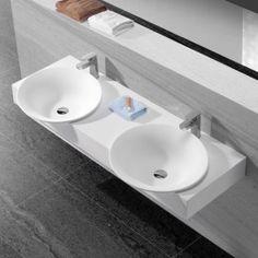 lavabo suspendu double vasque blanc mat 120x45 cm composite epure salle de bain pinterest