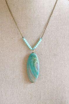AMASONITE AGATE gemstone, glass beaded necklace. Tiedupmemories