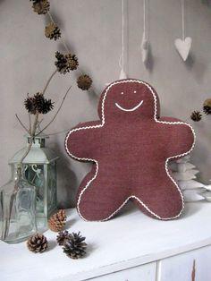 Christmas pillow  Gingerbread decor Christmas by ShabbyAnnieCorner