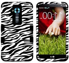 myLife Classic Black and White Zebra Print {Impact Design} 3 Piece Neo Hybrid Case for the for the LG G2 Smartphone (External Rubberized Sna...