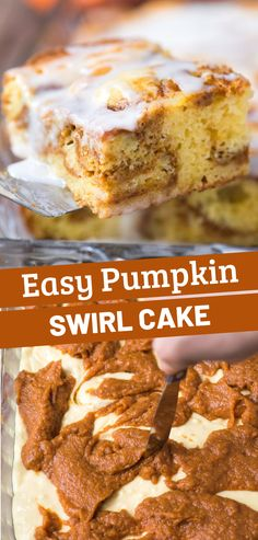 Easy pumpkin swirl cake is made with a doctored up yellow cake mix with a delicious pumpkin filling layer swirled in! It tastes like pumpkin coffee cake. Give this pumpkin cake with cake mix a try for breakfast or dessert! Pumpkin Coffee Cakes, Pumpkin Dessert, Cake Mix Coffee Cake, Pumpkin Pumpkin, Dessert Simple, Cake Mix Recipes, Dessert Recipes, Baking Recipes, Swirl Cake