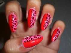 Red & Pink Leopard Nails