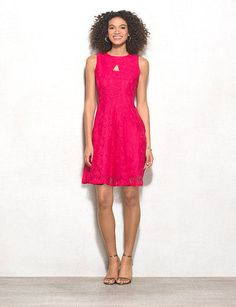 It doesn't get any more feminine than a flirty flared silhouette and vibrant pink lace. Wear this everywhere from date night to brunch! Imported.