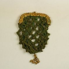 Antique French Georgian Purse, Gilt Frame, Lucet Cord And Bead Work Regency 1810