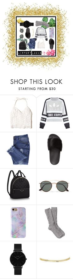 """Airport Looks!"" by mariangelarivas on Polyvore featuring moda, Hollister Co., adidas Originals, Essie, Givenchy, Ray-Ban, UGG y CLUSE"