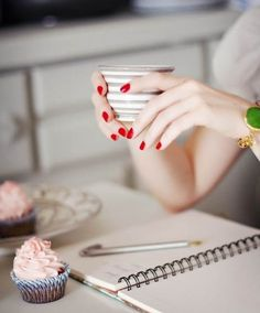 tea time, hot chocolate, cups, cupcakes, teas, manicur, red nails, writing, cup of coffee