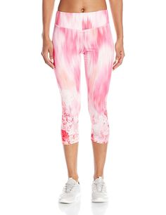 Karen Kane Women's Active Crop Pant Gardenia Row Print at Amazon Women's Clothing store: