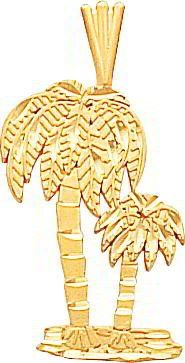 77% Off was $349.99, now is $81.22! 14K Yellow Gold Palm Trees Pendant Charm FindingKing