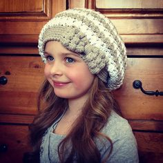Crochet Pattern for Bella Slouch Beanie Hat with Bobble Bow - 8 sizes, preemie/doll to large adult - Welcome to sell finished items - pinned by pin4etsy.com