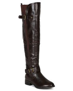 Nature Breeze BE15 Women Elastic Accent Thigh High Riding Boot - Brown * Check out this great product.
