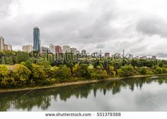Aerial view at Edmonton from the River. Edmonton, Alberta, Canada