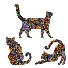 3 Piece Repositionable Cat Sticker Wall Decal Set